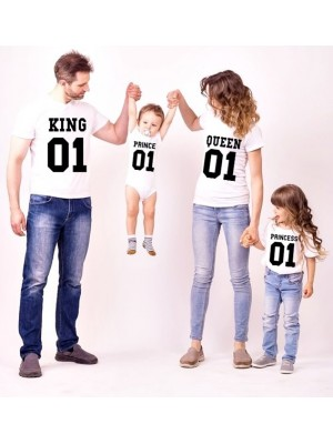 SET TRICOURI ALBE DE FAMILIE KING QUEEN PRINCE PRINCESS
