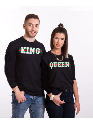 SET BLUZA SUBTIRE KING QUEEN MODEL VERDE ROSU