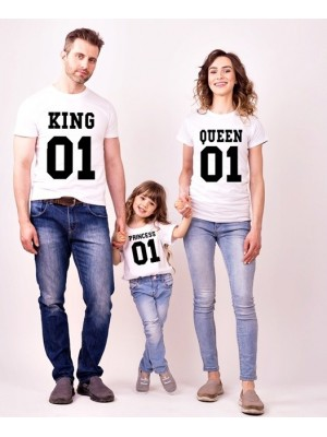 SET TRICOURI ALBE FAMILIE KING QUEEN PRINCESS