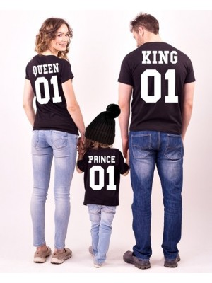 SET TRICOURI NEGRE FAMILIE KING QUEEN PRINCE