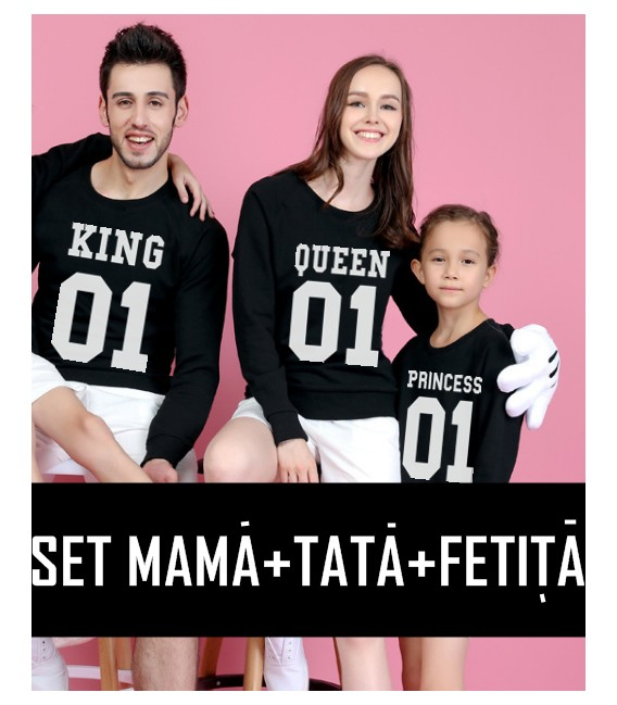 BLUZA MANECA LUNGA CUPLU KING QUEEN PRINCESS