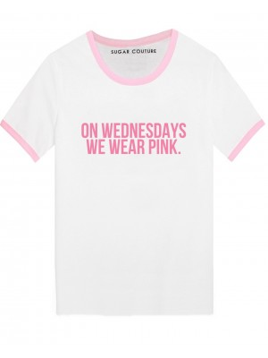 TRICOU DAMA RIB ROZ ON WEDNESDAY WE WEAR PINK