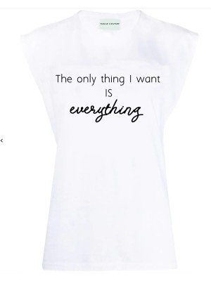 Tricou cu pernite la umeri All I Want is Everything